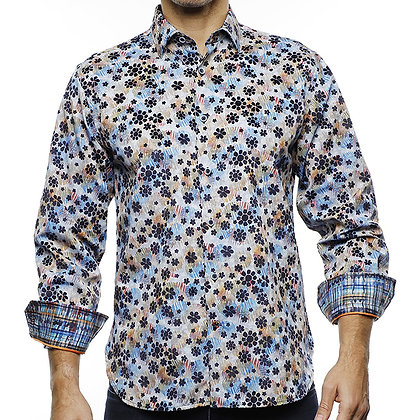 Luchiano Visconti (Multi color) Shirt with navy flower flocking