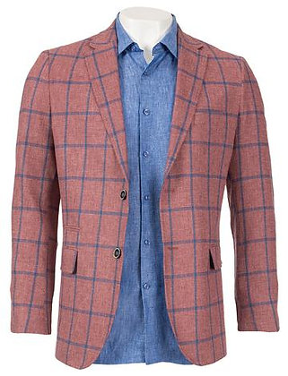 Inserch linen Cranberry Plaid Blazer for Men