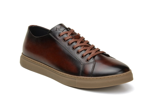 Albert-sporty antiqued leather sneaker