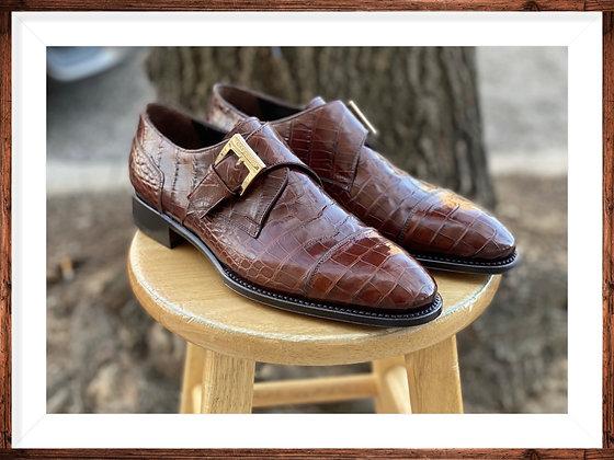 Men's Italian Alligator Side Buckle Shoe by Caporicci