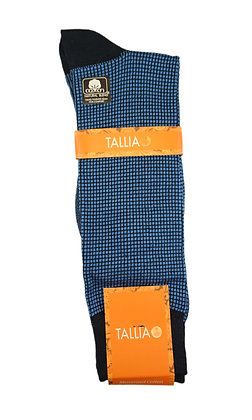 Tallia Mercerized Cotton mini check socks - Blue
