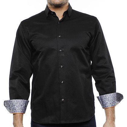 Luchiano Visconti Black Jacquard Rectangle Check Shirt