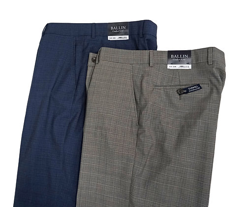 """Ballin Comfort-EZE """"Dunhill"""" Flat Front Trousers, Superr 110's Wool"""