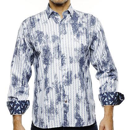 Luchiano Visconti Blue & White Herringbone Stripe Shirt