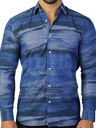 "Maceoo ""Fibonacci Holes Blue"" Men's Button down, Tapered Shirt"