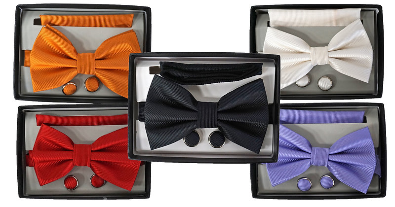 Pre-Tied 3 Piece Ribbed Bow tie Set, Matching hanky & Cuff Link
