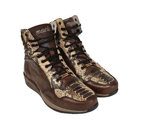 Mauri (Dark Brown/Beige) Ostrich leg & Printed Python High Top Shoes