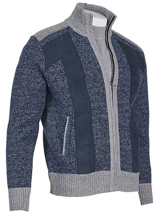 Inserch Blue Marled Yarn Full-Zip sweater