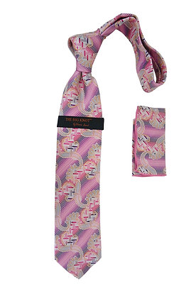 "Steven Land Silk tie and Hanky ""The Big Knot"" - Pink"