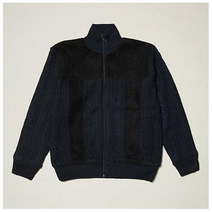 Mens Full Zip Fleece Lining Navy Blue Sweater