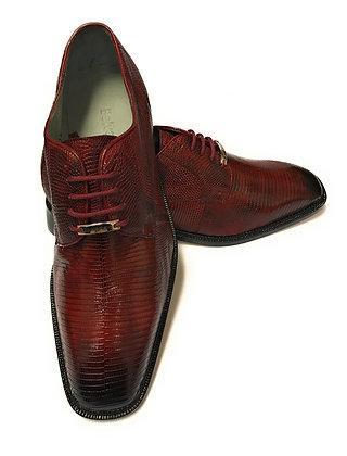 "Belvedere ""Olivo"" Burgundy Lizard Shoe"
