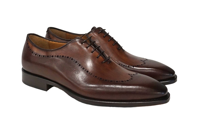 "Jose Real Brown Perforated Wingtip Shoe ""A868"""