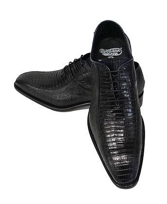Genuine Lizard navy blue shoe for men by Calzoleria Toscana (5073)