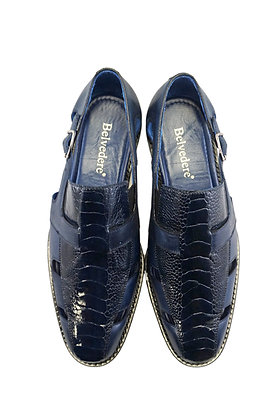 "Belvedere ""Connors"" Navy Blue Ostrich Exotic Skin Sandal"