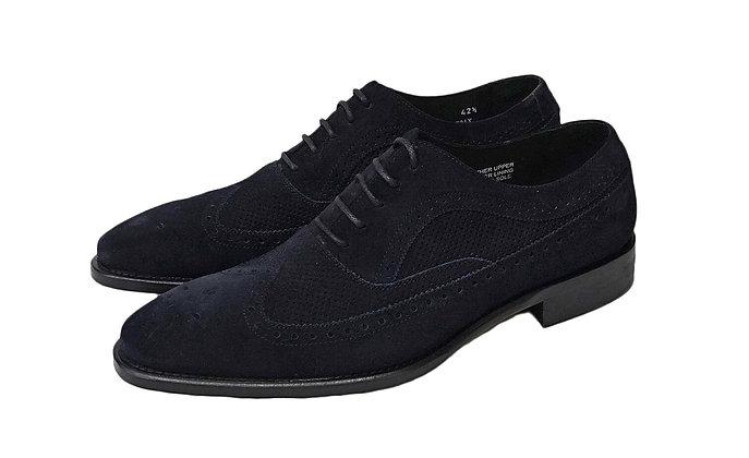 Calzoleria Toscana Navy Blue Suede Italian Wingtip shoe