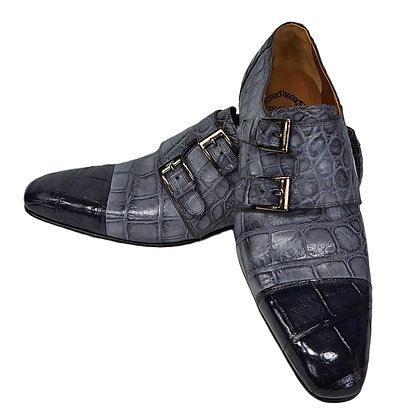 Mauri Double Monk Black Gray (1152/2)  Italian Shoe - Stylish