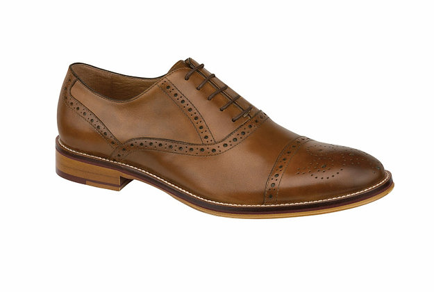 Johnston Murphy Men's Conard Tan Cap Toe Oxford shoe