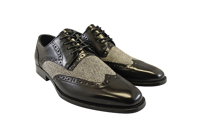 "Giovanni ""Ethan"" Black Tweed and Leather wingtip oxford"