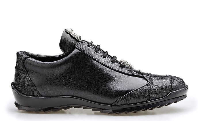"Belvedere (""Paulo"") Black Ostrich Sneaker style Shoes"