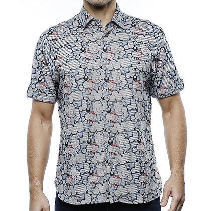 Mens Visconti Gray Short Sleeve Jacquard knit shirt