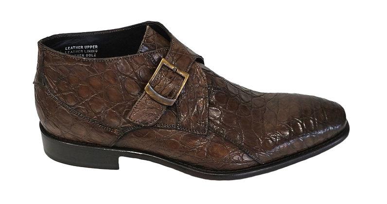 Calzoleria Toscana Crocodile Monkstrap brown ankle boot