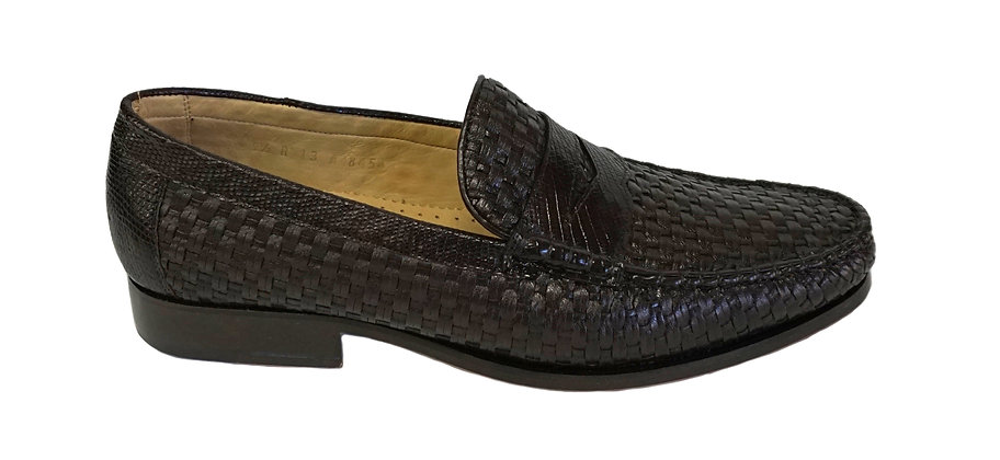 "Belvedere ""Franco""Brown Basket Weave Loafer"