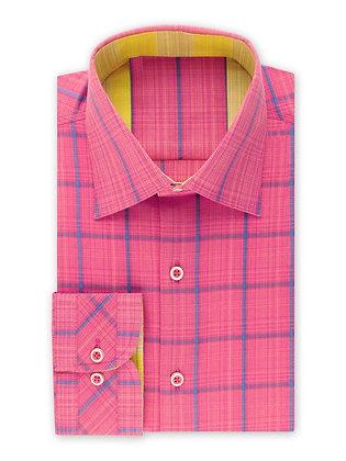 Steven Land (Fuchsia) Novelty Checked Dress Shirt