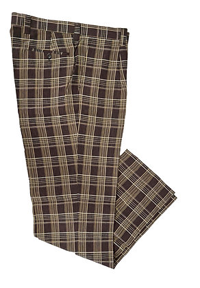 Inserch brown check linen pants, classic fit, single pleat