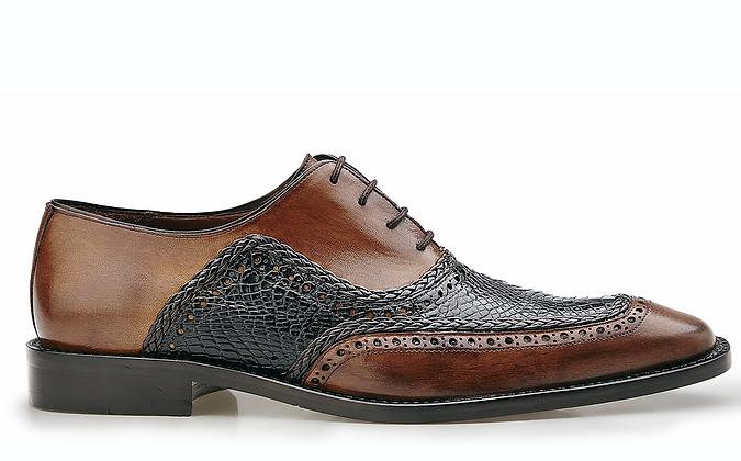 "Belvedere ""Bartolo"" (Antique Blue/Antique Tan) Alligator & Calf Shoes"