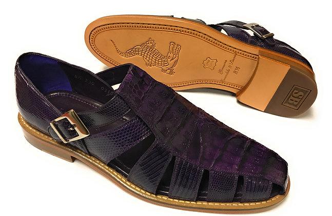 """Belvedere """"Fabrizio"""" Purple Lizard/Caiman Sandal"""