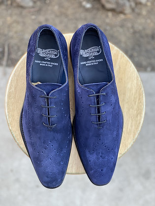 "Men's Blue Italian Peforate Suede Wingtip Shoe By Calzoeria Toscana""8712"""