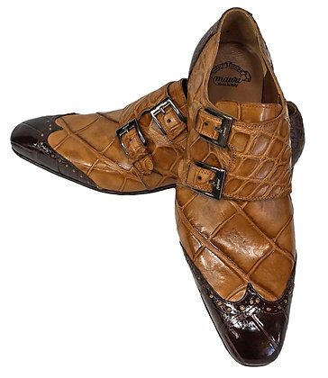 Mauri Brown (1010) Italian Alligator Wingtip Double Monk - Stylish