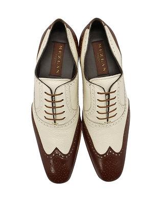 """Mezlan """"Vivaldi"""" Cognac and Bone Two tone Oxford dress shoes front view"""