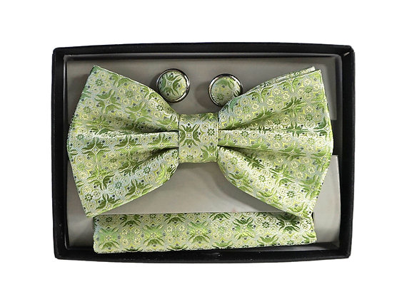 Bow Tie Set, Matching Hanky and Cuff Link, Green
