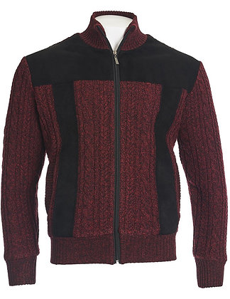 Inserch Burgundy Marled Yarn Cable Sweater Jacket with Fleece Lining