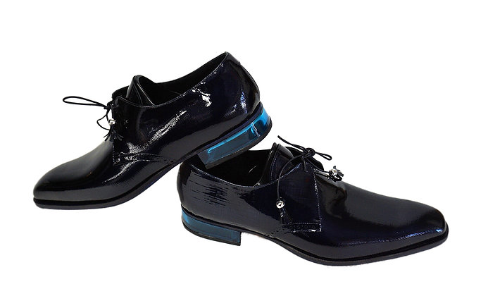 Mauri Blue Patent Leather Shoe, Plexiglass Heel