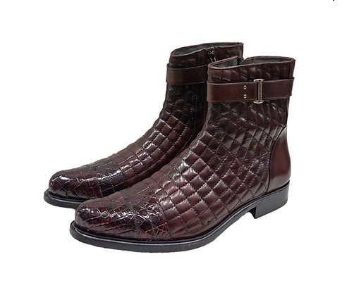Belvedere (Libero - Burgundy) Genuine Alligator and Soft Quilted Leather Boot