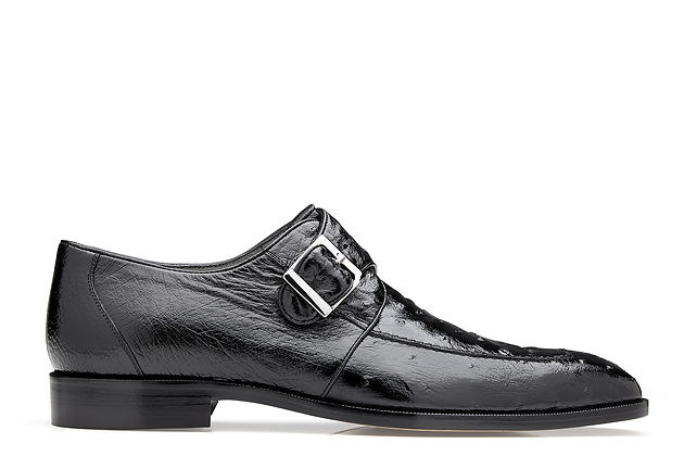 "Belvedere ""Josh"" Exotic Skin Black Ostrich Single Buckle Shoe"