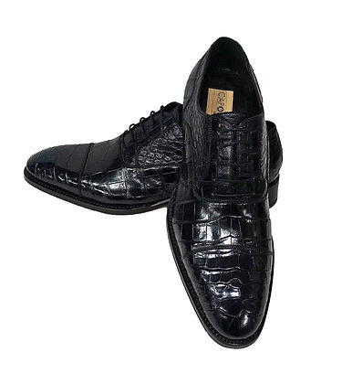 Caporicci (Navy Blue) Baby Alligator Cap Toe, Italian shoe