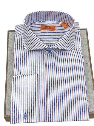 Steven Land (SB1934 - Blue) Mens French Cuff Striped Dress Shirt