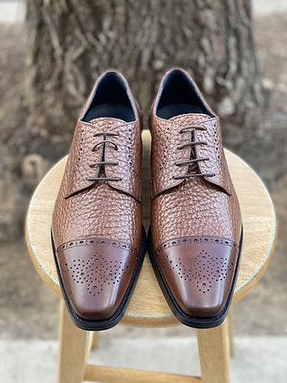 Men's Pebble Grain Brown Italian Cap Toe Oxford Shoe by Duca