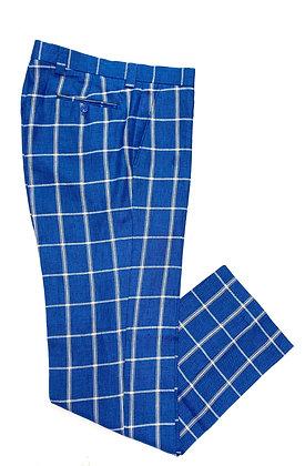 """INSERCH Linen Plaid linen pants """"Storm Blue"""""""