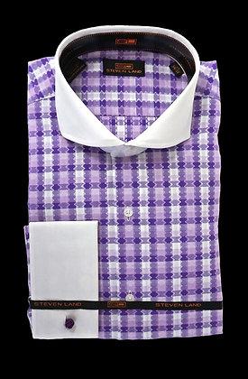 Steven Land (Purple) Jagged Check, French Cuff Dress Shirt