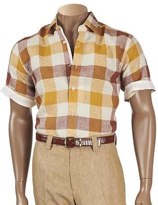 """Inserch Linen Short Sleeve Shirt """"Copper"""