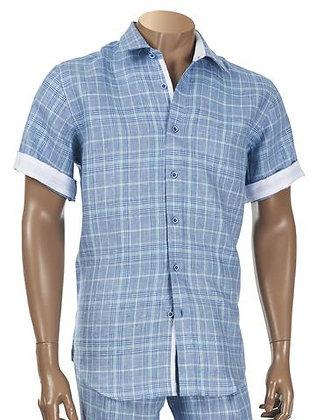 """Inserch """"Denim Blue Check"""" linen Short Sleeve Shirt"""