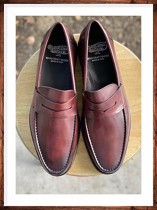 "Burgundy Men's Italian Slip-on Penny Loafer Shoe By Calzoloria Toscana ""Santos"""