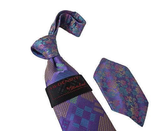 Steven Land Silk Purple Multi Pattern Tie