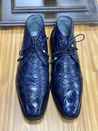 "Genuine Alligator ankle boot navy blue ""Stefano"" by Belvedere Shoes"