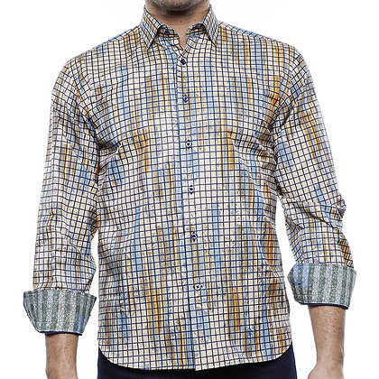 Luchiano Visconti Shirts for Men Beige Check