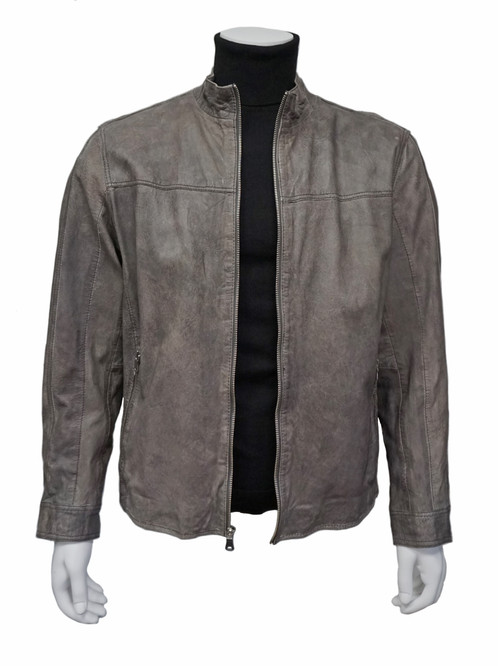 new product 25906 19817 Missani Le Collezioni Gray Leather Jacket (3906)